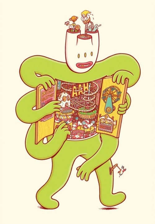 """""""What's Inside?"""" – Character Designs by Brosmind #bizarre #design #illustration #surreal #open #character #green"""