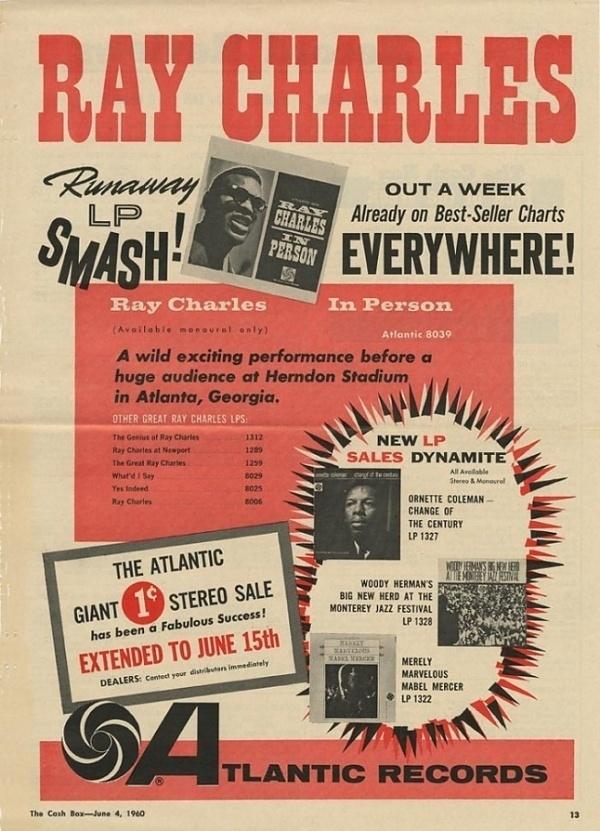6/04/1960 Atlantic Ad - Photos - Atlantic Records #atlantic #advertising #ray #music #charles #records #typography