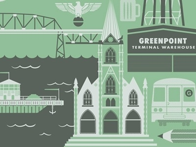 Dribbble - Greenpoint BKLYN by Two Arms Inc. #twoarmsinc #illustration #poster
