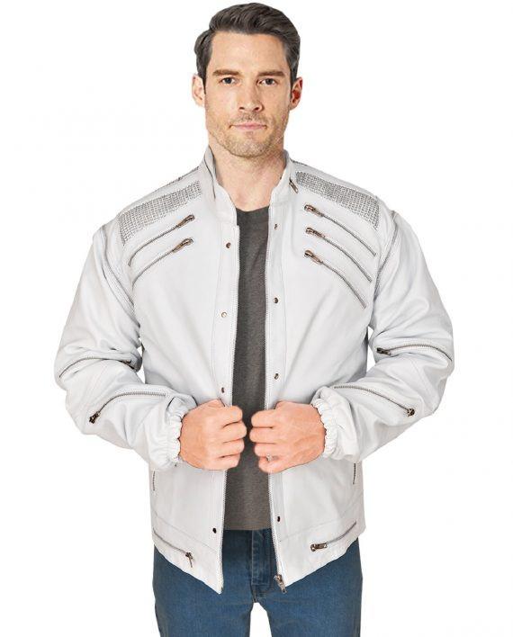 Men's White Leather Beat it Michael Jackson Jacket