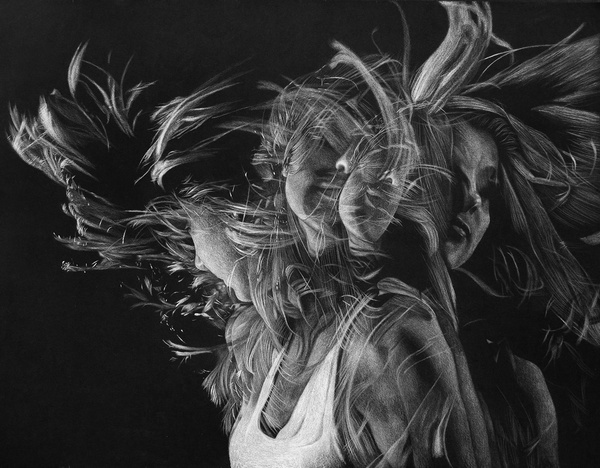 Silje #flowing #white #girl #movement #motion #& #drawing #black #artwork #hair #colored #pencil