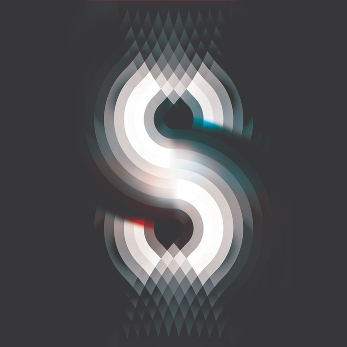 """Andy Gilmore """"S"""" crowquills.com #gilmore #andy #red #white #optical #illusion #design #graphic #illustration #grey #blue #typography"""