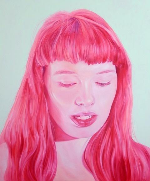 Jen Mann   PICDIT #pink #color #portrait #painting #art