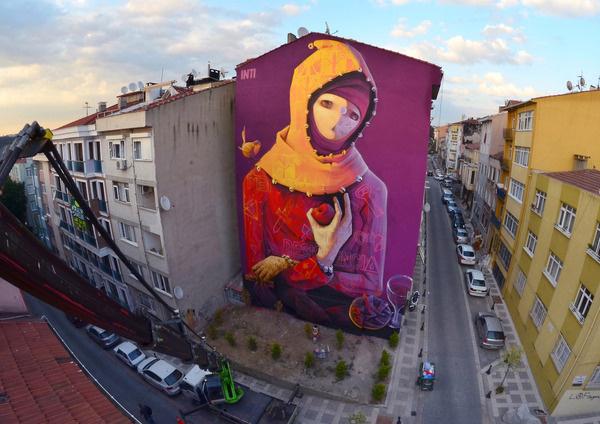CJWHO ™ (New Wall from INTI in Istanbul, Turkey The latest...) #mural #graffiti #turkey #design #istanbul #illustration #wall #inti #art #street