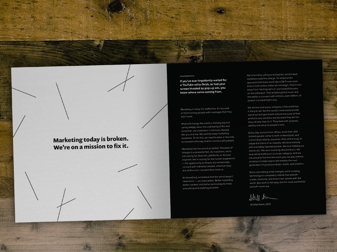 Brand Brochure #line #print #newscred #book #wood #spread #collateral #signature #layout #table