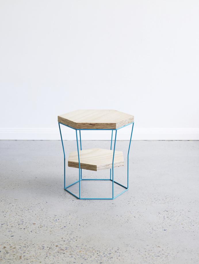 LINZI stool/side table by Luschia Porter #linzi #porter #table #stool #wood #luschia #furniture #metal #blue
