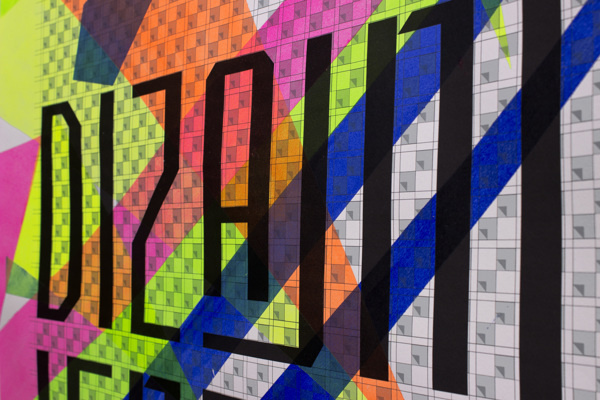 Designeyland / Dizajnilend on Behance #frame #croatia #fluorescent #portfolio #design #color #workshop #review #paint #triangle #behance #handmade #poster #acryl #type