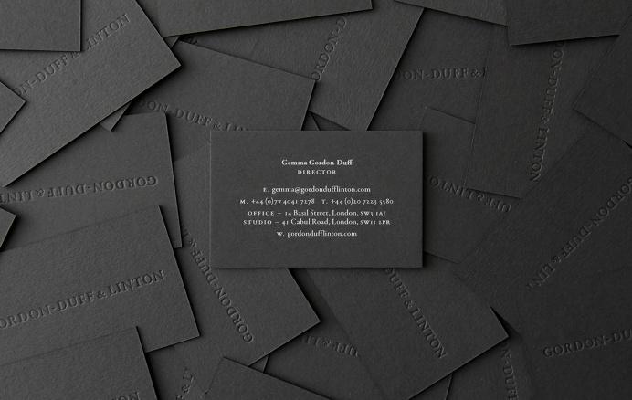 Gordon-Duff & Linton #identity #business card #emboss #gray #grey #branding