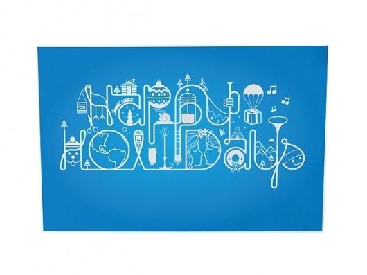 Happy Holidays #holidays #happy #card #christmas #illustration #type #typography