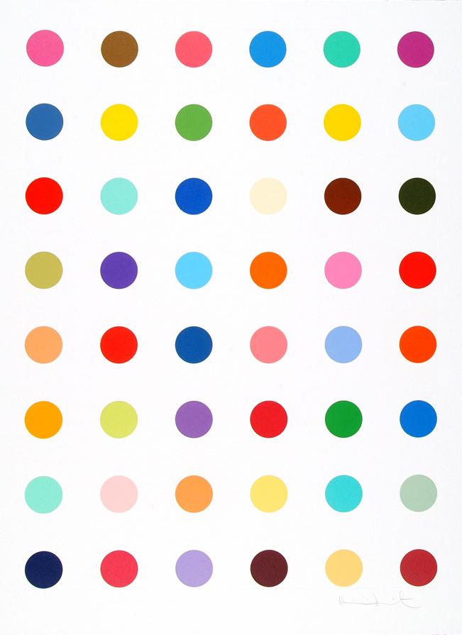Paddle8: Oleoylsarcosine - Damien Hirst #with #aquatint #dots #colors #hirst #etching #damien #spot
