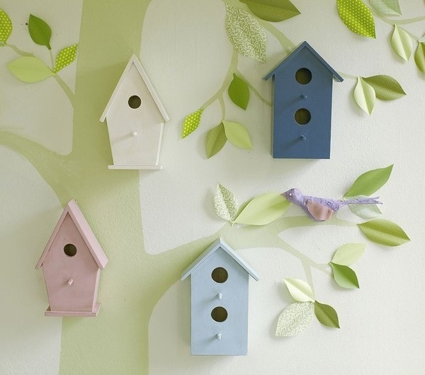 eclectic nursery decor Wooden Bird Houses #leaf #bird