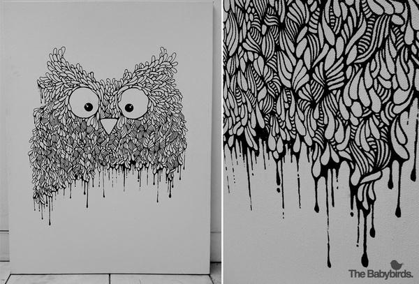 owl01 #white #owl #black #birds #illustration