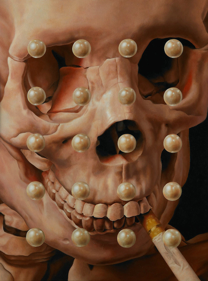 This happens all the time. #pearls #bizarre #macabre #grid #illustration #strange #surreal #skull #smoking