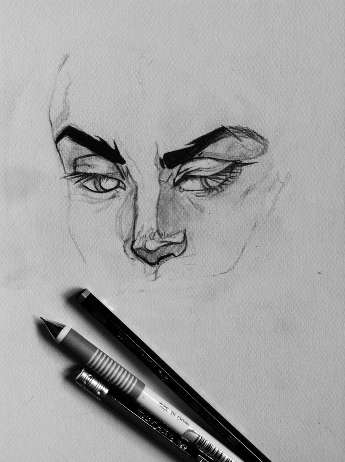 Jude'sinstagram.com/joudmoe #white #nose #eyes #black #eyebrows #illustration #and #study #life #face #drawing #sketch