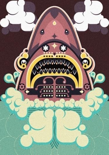 Jonny Wan Illustration #water #print #graphic #jaws #illustration #poster #wan #jonny #patterns