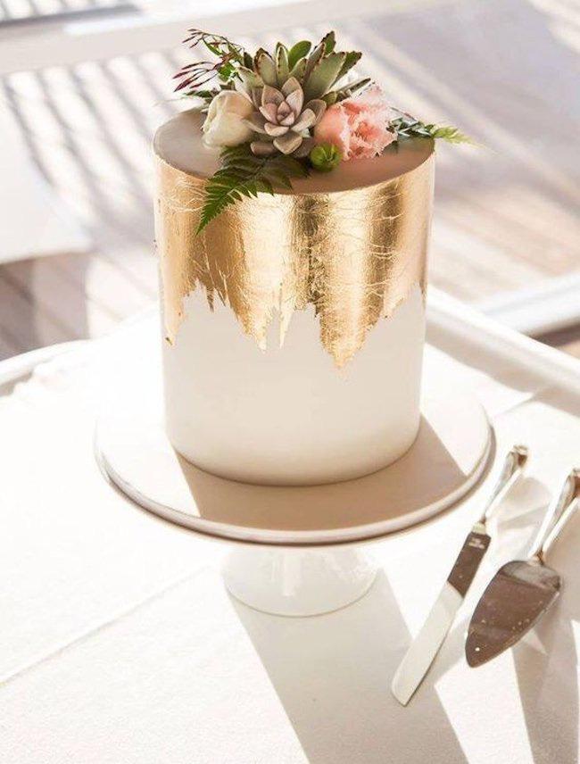 gold foil cake for wedding