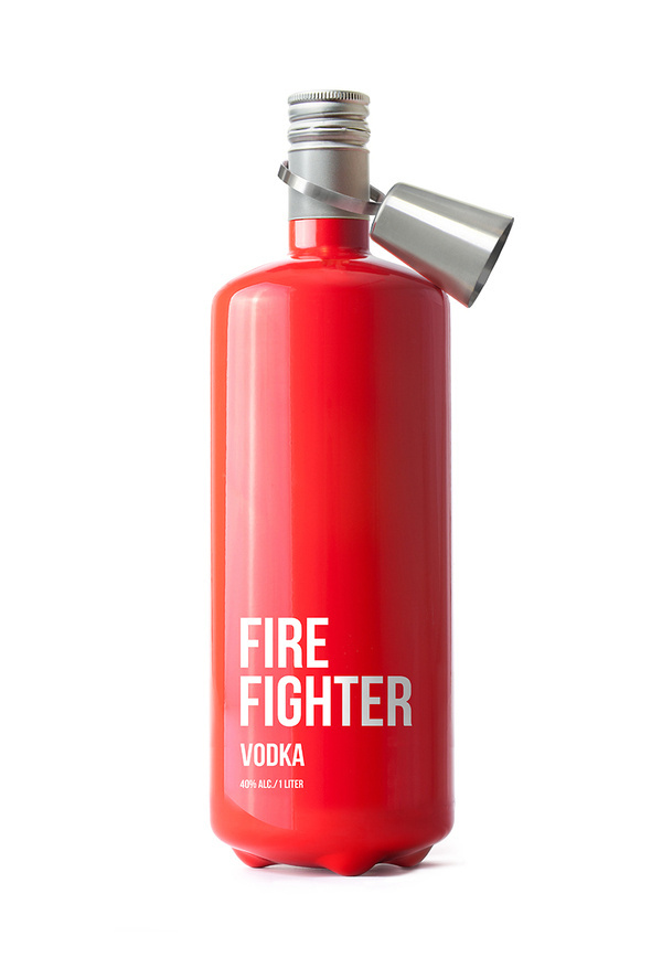 Fire Fighter Vodka Packaging, by Timur Salikhov #inspiration #creative #red #packaging #design #graphic