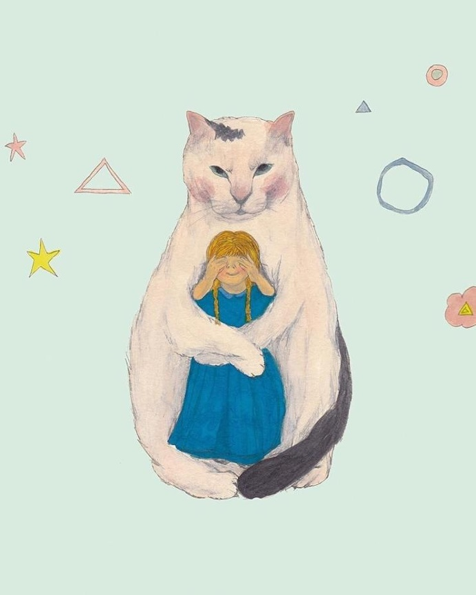 Kitten holding a girl outside of space and time