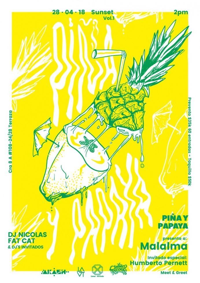 Pineapple and Papaya Poster