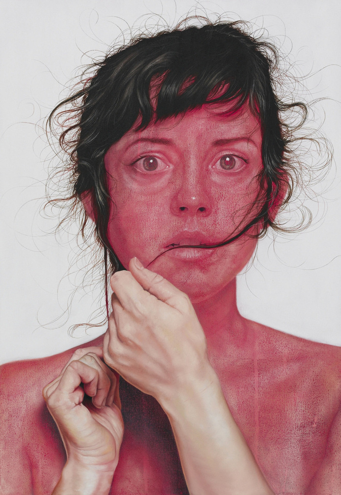 Portraits by Jenny Morgan #worry #woman #hands #anxiety #design #hair #illustration #art #painting #disturbing