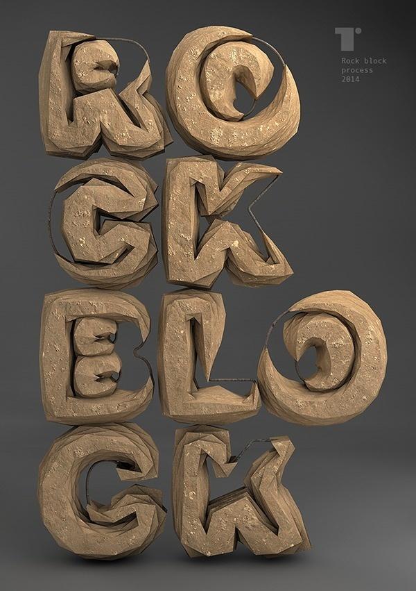 Rock block – Typography made of boulders. #rock #typography