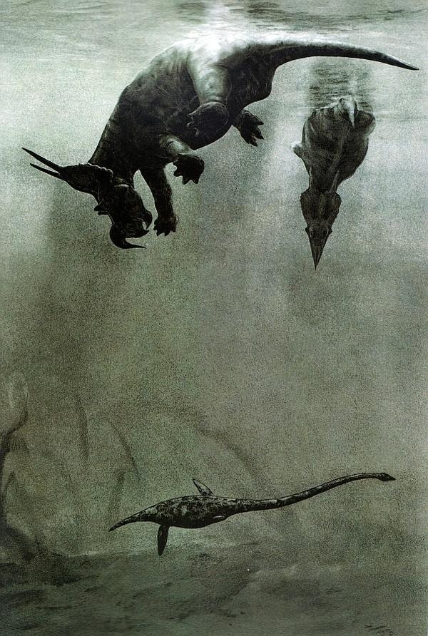 Click to enlarge #plesiosaur #water #triceratops #deep #diving #dinosaur #swimming