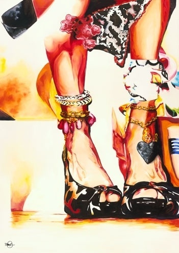 Sex Pot by Tanina Jackson #sexy #woman #legs #colorful #heels #painting