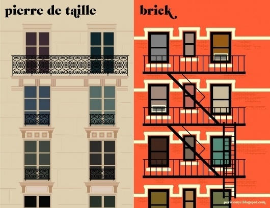 14facades.jpg 1600×1236 pixels #paris #illustration #newyork
