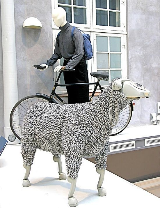 CJWHO ™ (Sheep sculptures made from rotary telephones  ...) #creative #amazing #sculpture #design #sheeps #art #telephone #clever