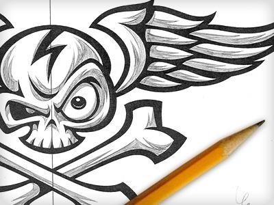 Dribbble - Skull & Bonz by Von Glitschka #vector #illustration #von #skull #sketch