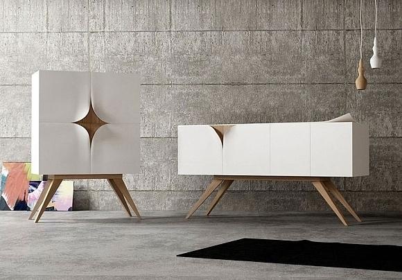 Designed by Nicola Conti, Slap Furniture is a series of home furnishings with peeling corners. #design #decor #home #italian #furniture #minimal #minimalist