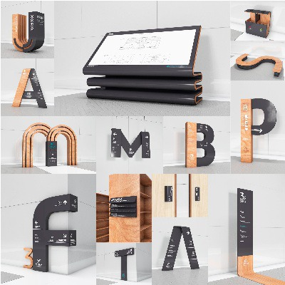 Wayfinding   Signage   Sign   Design   图书馆C4D标识牌创意字母造型导视系统设计模板