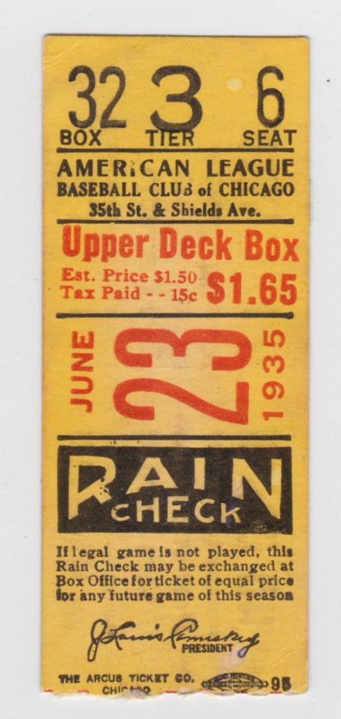 1935 Red Sox at White Sox DH Ticket Stub 5 HOFers | eBay #vintage #baseball #ticket #2 color