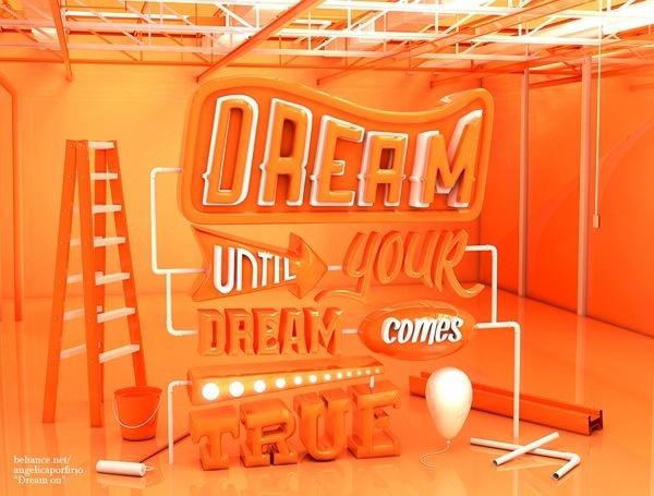 Dream on #3dsmax #orange #dream #typography