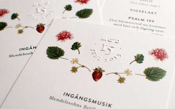 Wedding Program, by Cecilia Hedin #emboss #invitation #print #strawberry #flower #wedding