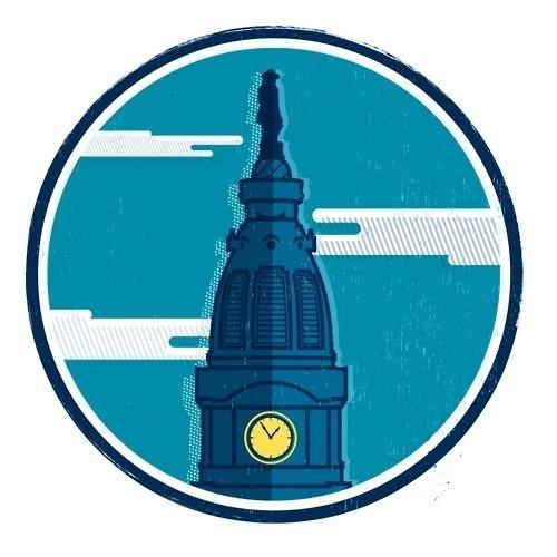 Tumblr #clouds #penn #philadelphia #sky #william #design #illustration #logo #tower #clock
