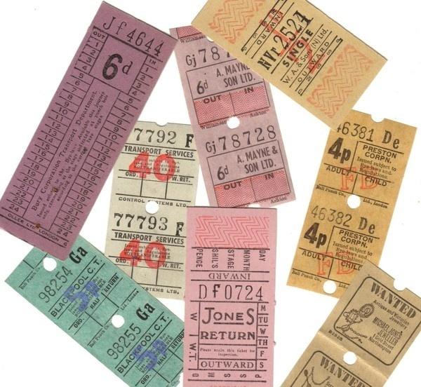 22pcs Vintage 1920s 50s BRITISH TROLLEY TICKETS Assortment #tickets