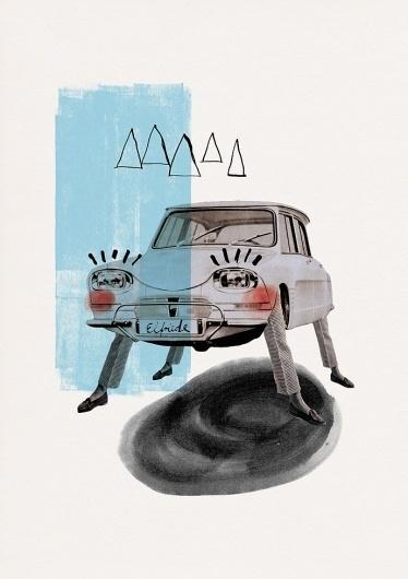 Maria Fischer · Portfolio · Illustration #fischer #retro #illustration #maria #collage #car