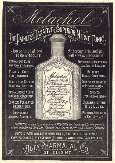 Quack remedies of yore - Corrects Perverted Secretions - Boing Boing #print #layout #distressed #typography