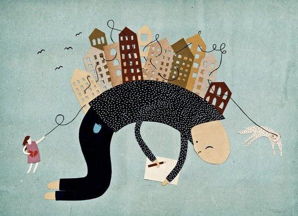 Michelle Carlslund Illustration Ordskælv #green #bag #cut #nordic #string #write #danish #out #letter #illustration #original #scandinavian #walk #poster #ad #houses #man #pencil #dog