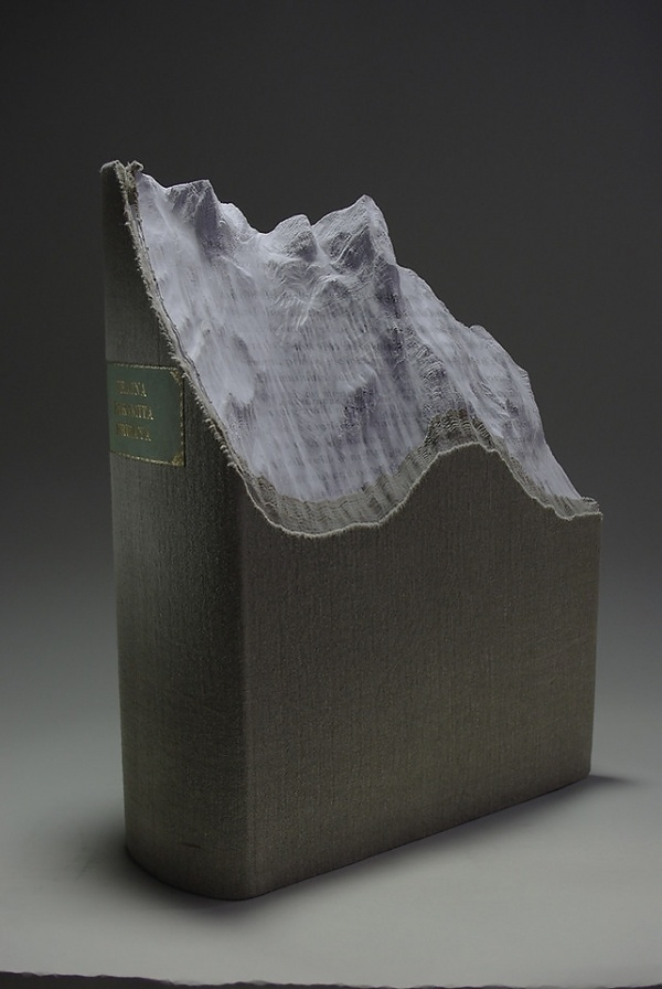 1 | Carved Up Books Become Tsunamis, Volcanoes and Caves | Co.Design: business + innovation + design #yin #sculpture #laramee #guan #book #landscape #topography #mixed #media #guy