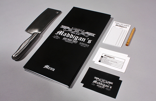 Maddigans Freehouse Identity #business #card #print #design #graphic #menu #restaurant #identity #bar #layout #pub #typography