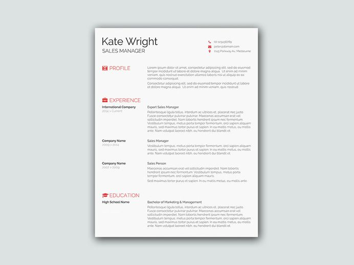 Free Smart Minimalist Resume Template for Best Impression
