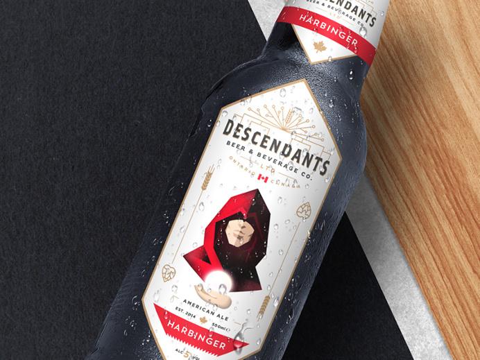 The Descendants Beer bottle label by Josip Kelava #descendants #beer #bottle #label #josip #kelava #harbinger #vintage #red #canada