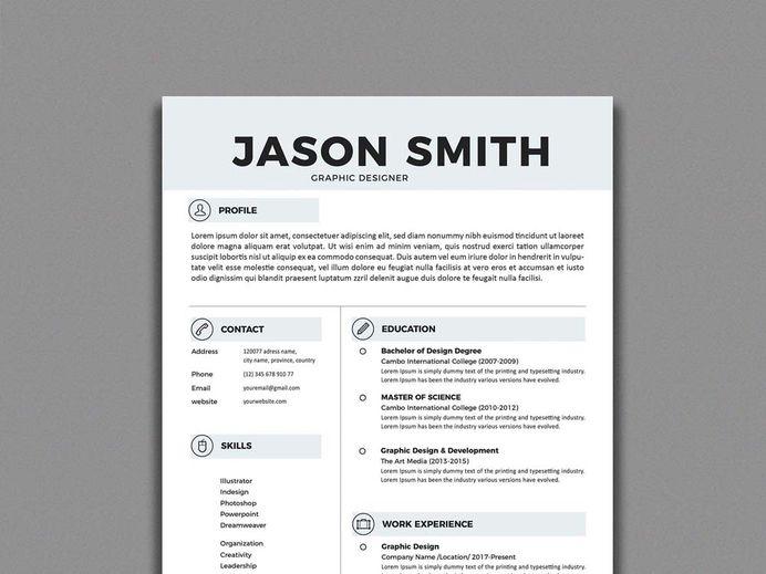 Free Simple Resume Template In Illustrator Format