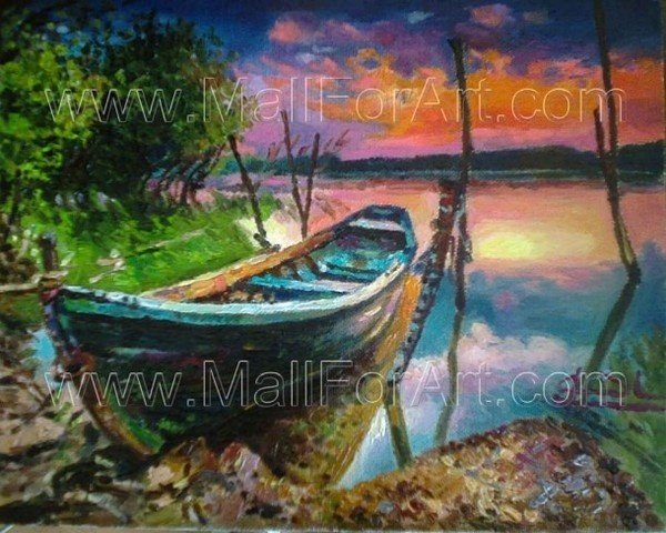 Sunrise near Danube River landscape for living room #decor #kitchen #for #art #paintings