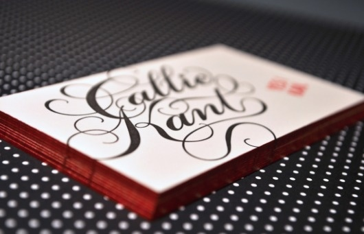 Edge Painted Letterpress Business Cards   Oh So Beautiful Paper #cards #business #typography