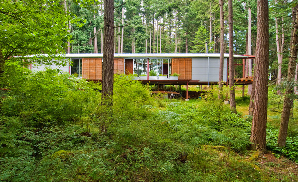The Walker-Pope House is perched along a wooded hillside of Orcas Island. #forest #architecture #house