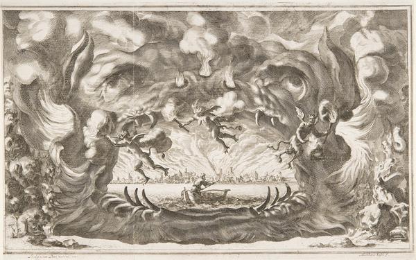 "Ludovico Ottavio Burnacini / Mathäus Küsel Stage Design for the opera ""Il pomo d'oro ' (Storm Scene) 1667   Flickr Photo Sharing! #horror #devil #demon #boat #opera #hatching"