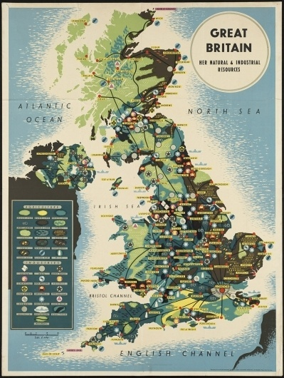 Great Britain - Her natural and industrial resources #ocean #britain #color #map #vintage